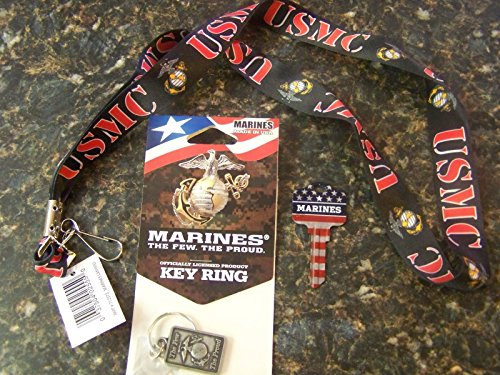 Marines lanyard,key chain and Kwikset key blank 3 pack set