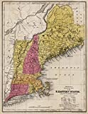 School Atlas   1845 Physical & Political Map Of The North Eastern States   Historic Antique Vintage Reprint