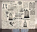 Ambesonne Old Newspaper Decor Curtains, Grunge Pattern with Bird Cages Keys Heart Shapes and Flower, Living Room Bedroom Window Drapes 2 Panel Set, 108 W X 96 L Inches, Black Cream Baby Blue