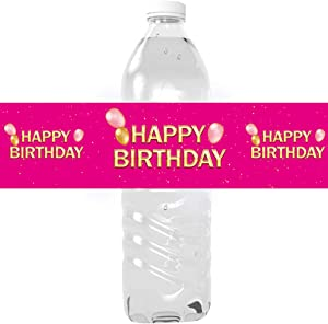 Happy Birthday Party Water Bottle Labels - Birthday Water Bottle Decorations Cake Table Decorations - 24 Stickers (Pink)