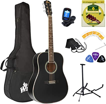 Winzz 41 Full Size Acoustic Guitar Adults Beginners Kit Black Practice Guitar Amazon Co Uk Musical Instruments