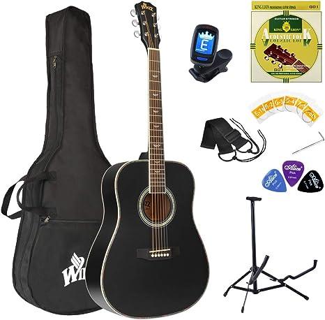 Winzz Guitarra Folk Acústica 4/4 Adulto Negra Para Principiantes, Incluye Funda, Afinador, Correa, Púas, Un Juego Extra de Cuerdas Y Un Soporte Para La Guitarra: Amazon.es: Instrumentos musicales