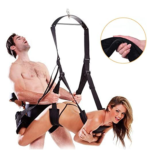 Adult Indoor Swing Set, Indoor Swing with Adjustable Soft Straps - Holds up to 800 lbs(Black)