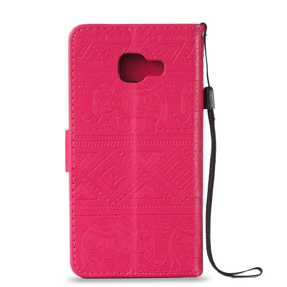 Chreey Coque Samsung Galaxy A3 2016 Indien /Él/éphant Personnalit/é R/étro PU /Étui en Cuir Portefeuille Case avec Fente pour Cartes et Fonction de Support Housse de Protection rose rouge