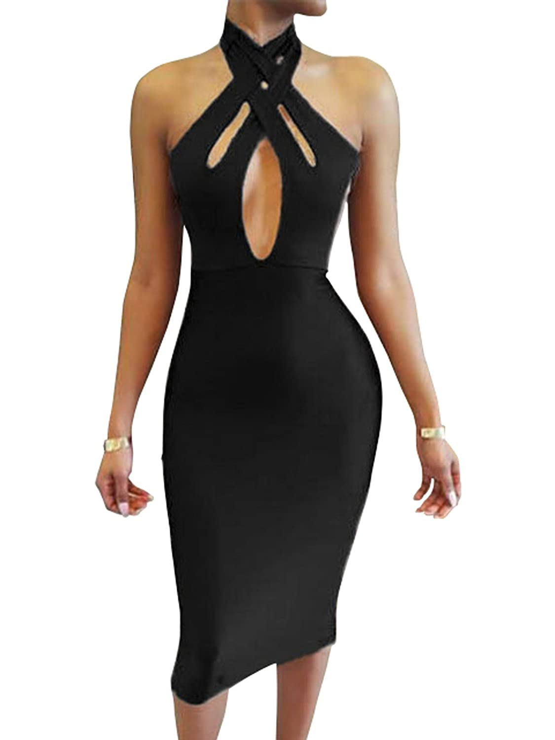 2689ed97b903 Amazon.com  TOB Women s Sexy Halter Bodycon Off Shoulder Club Dress   Clothing
