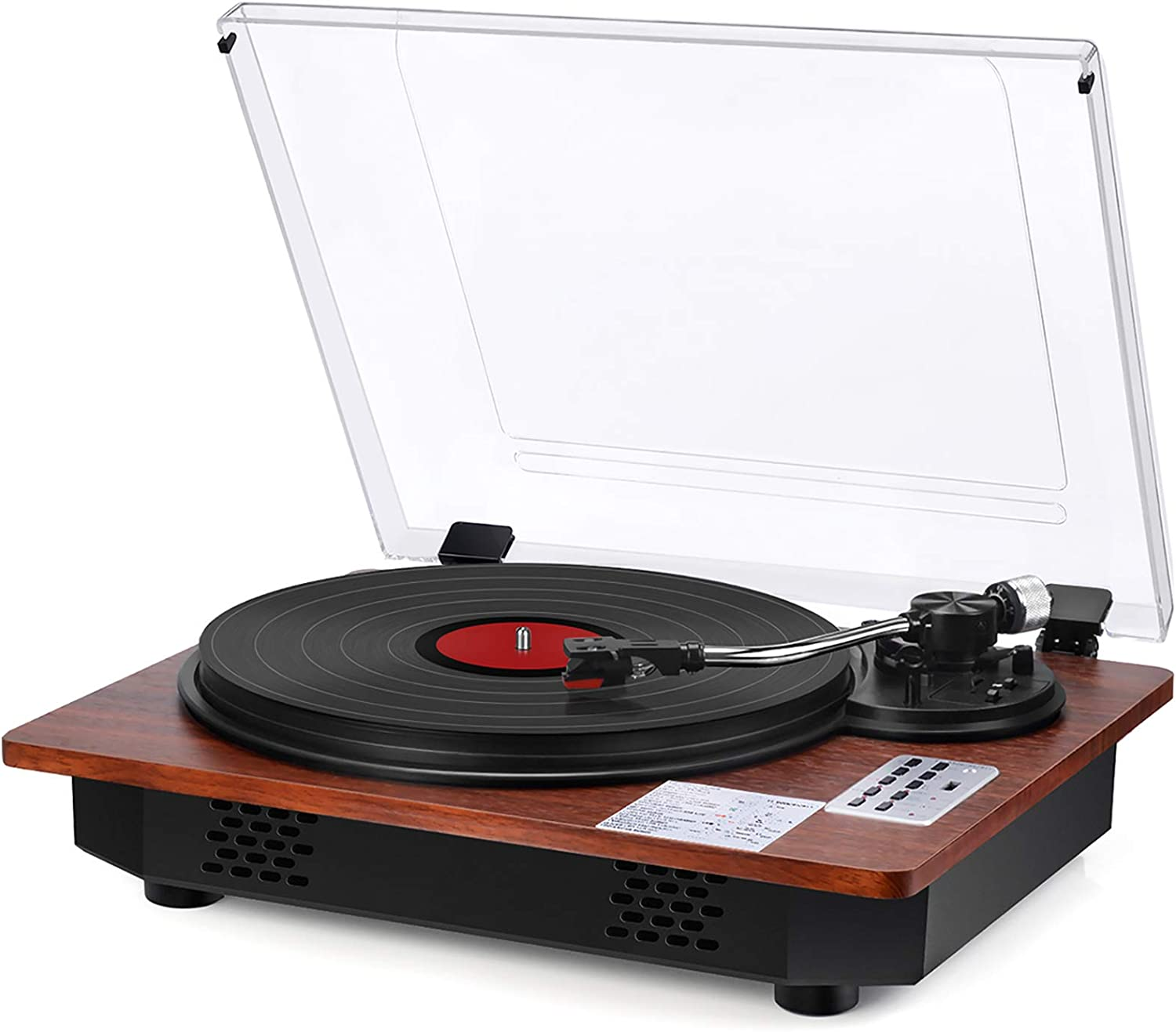 Vinyl Record Player with Speakers Turntable Bluetooth Input Output USB Recording Vinyl Record Player