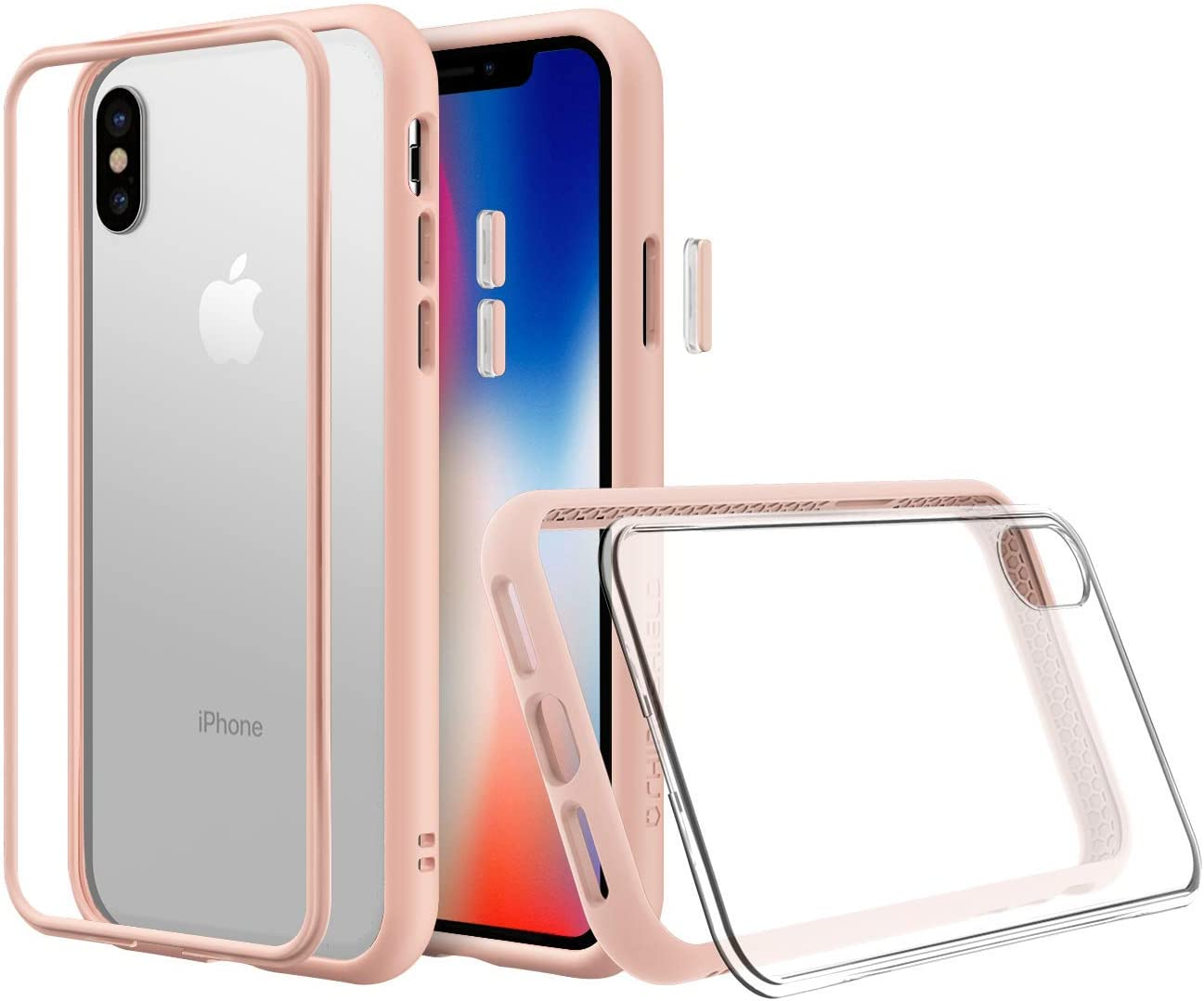 Amazon Com Rhinoshield Modular Case Compatible With Iphone Xs Mod Nx Customizable Shock Absorbent Heavy Duty Protective Cover Shockproof Blush Pink Bumper With Clear Back
