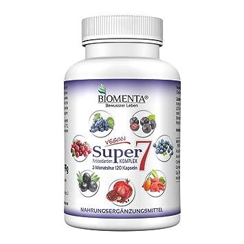 biomenta SUPER7 - Antioxidantes Complejo Con opc, Cranberry, Goji, Aronia, Granada, ACAI, Blueberry 120 cápsulas 2 meses de curación