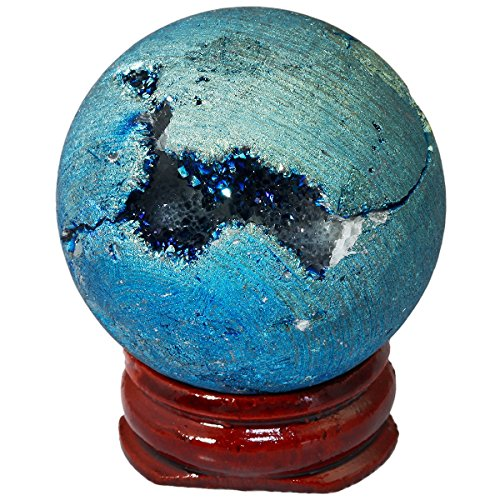 mookaitedecor Druzy Agate Geode Specimen, Blue Titanium Coated Quartz Crystal Sphere Figurines with Wood Stand -