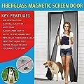 Magnetic Screen Door Fiberglass Mesh Screen Door with Magnets, Fly Mosquitos Bug Insect Screen for Sliding Glass Door French Door Patio Door, Full Frame Hook & Loop, Hands Free, Pet Friendly