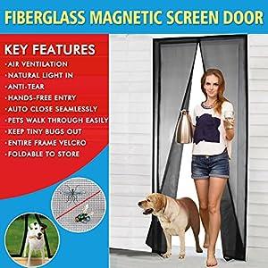 """Magnetic Screen Door Fiberglass Mesh Screen Door with Magnets, Fly Mosquitos Bug Insect Screen for Sliding Glass Door French Door Patio Door, Full Frame Hook & Loop, Hands Free, Pet Friendly (36""""x82"""")"""