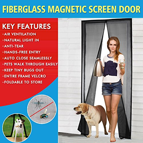 (Magnetic Screen Door Fiberglass Mesh Screen Door with Magnets, Fly Mosquitos Bug Insect Screen for Sliding Glass Door French Door Patio Door, Full Frame Hook & Loop, Hands Free, Pet Friendly (36