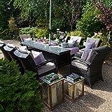 Maze Rattan Outdoor Garden Furniture Texas 8 Seat 2m x 1m Rectangular Table Brown Rattan Dining Set