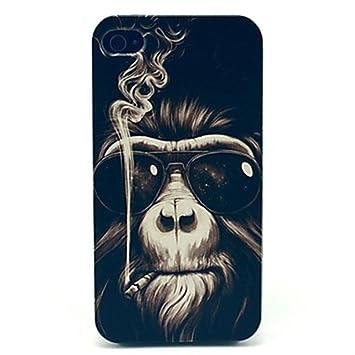 Rebanna Mono de fumar usando cáscara dura de gafas de sol funda (iPhone 6,Negro)