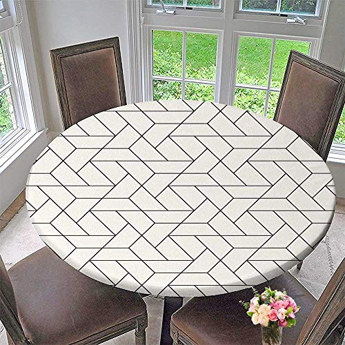 PINAFORE HOME Elasticized Table Cover Vector Stylish Texture with Monochrome Trellis Repeat Machine Washable 40