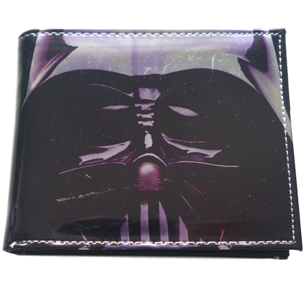 Star Wars Classic Close Up Darth Vader Helmet Movie Themed Look of Leather Bi-Fold Wallet (with Gift Box)