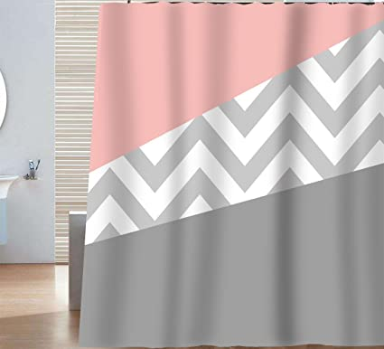 Sunlit Zigzag Modern Color Block Pink And Grey White Chevron Shower Curtain Geometric Pattern Lines