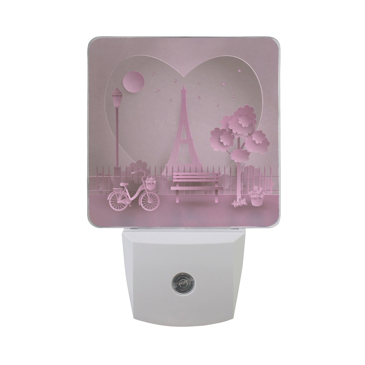 Naanle Set Of 2 Valentine Paris Love Eiffel Tower Pink Auto Sensor LED Dusk To Dawn Night Light Plug In Indoor for Adults
