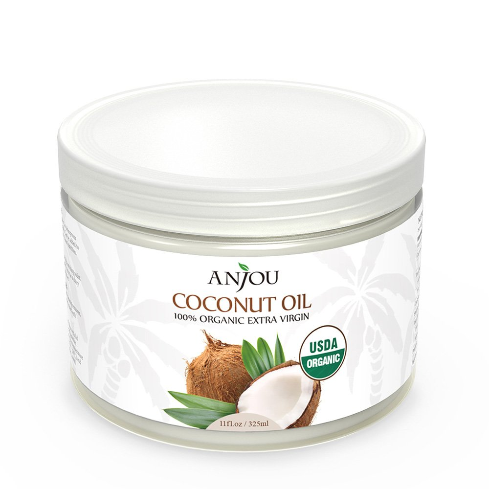 Anjou Organic Coconut Oil, Cold Pressed Unrefined, Extra Virgin for Beauty, Cooking, Health, Dogs, DIY Lotion, Hair, Skin, Turn to Liquid above 79 F Degree, Source from Sri Lanka, 11 oz