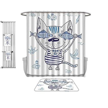 Amazon com: QINYAN-Home Print Bathroom Rugs Shower Curtain