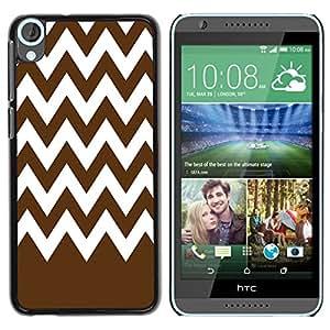 Dragon Case - FOR HTC Desire 820 - ?Brown white waves - Caja protectora de pl??stico duro de la cubierta Dise?¡Ào Slim Fit
