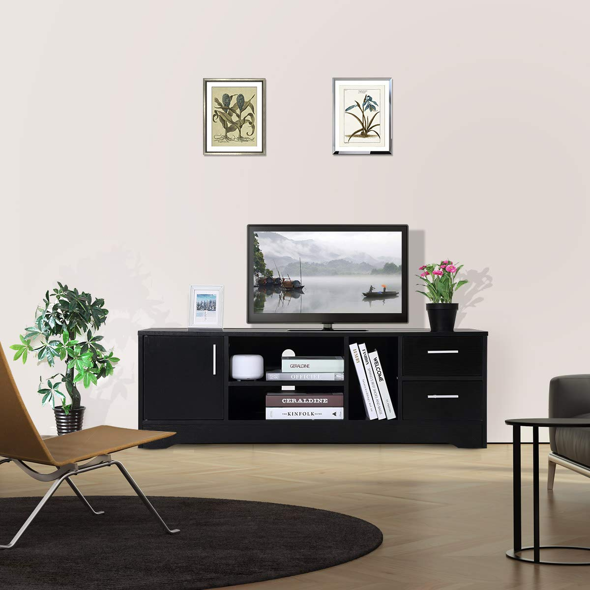 Meuble TV En Bois Chambre à Coucher Noir Meuble TV Avec Deux étagères  Chambre à Coucher ...