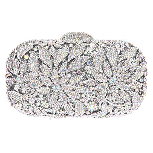 Fawziya Bags For Women Evening Clutch Handbags And Clutches Crystal-AB Silver