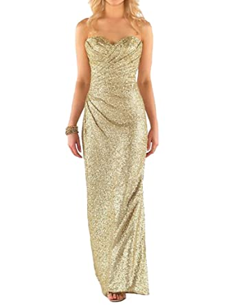 JYDress Womens Glamorous Sweetheart Sleeveless Sequins Long Bridesmaid Dress 2017