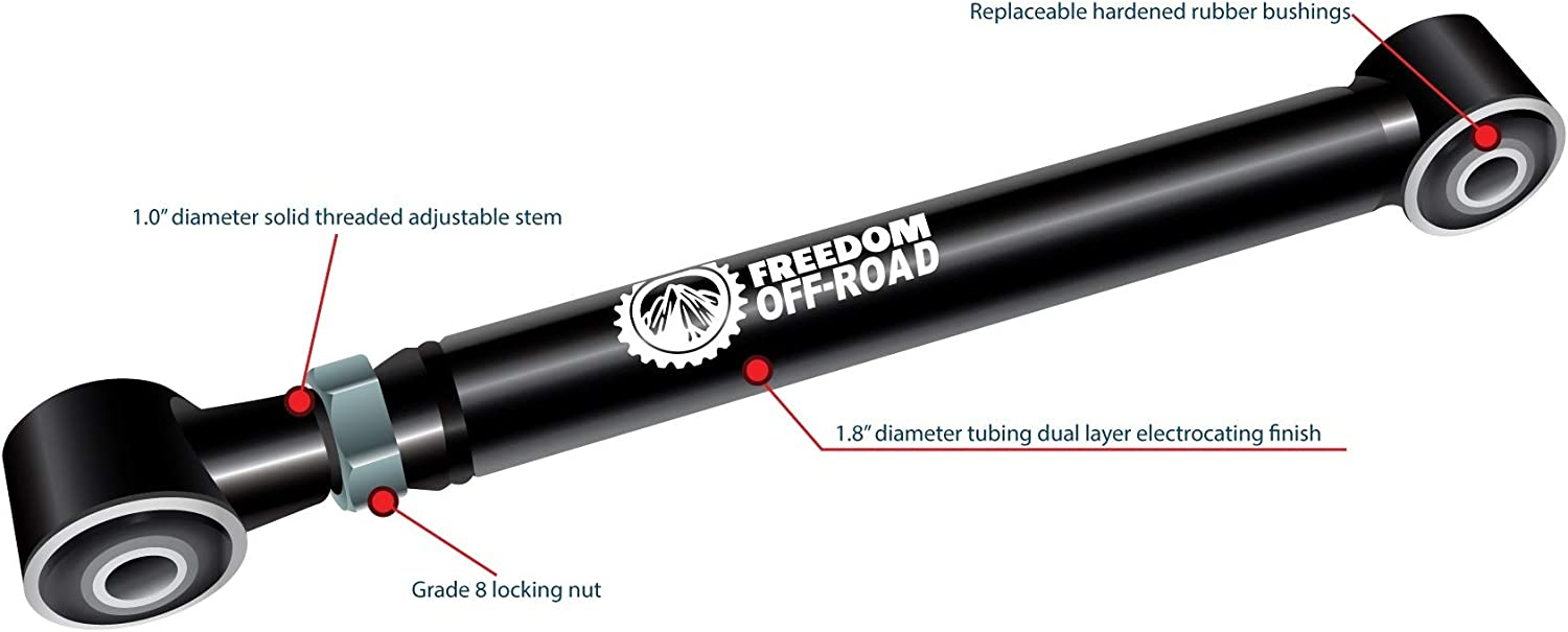 """Freedom OffRoad Adjustable Lower Control Arms 0-8/"""" Lift Wrangler Grand Cherokee"""
