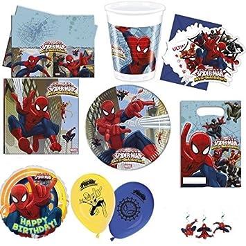 Kit Decoration Anniversaire Complet Spiderman Pour 6 Amazon Fr