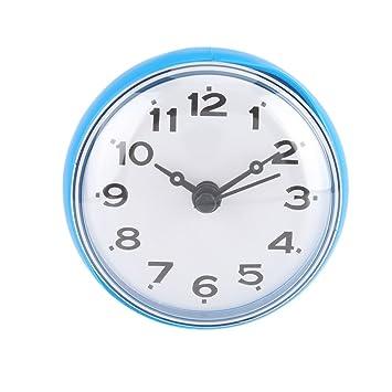 Agua Densidad ducha Reloj con ventosa redondean Árabes Digital Esfera para baño ducha Reloj accesorio de cocina baño banduhr pared montaje, azul: Amazon.es: ...