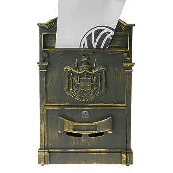 PrimeMatik - Buzón Antiguo metálico para Cartas y Correo Postal de Color óxido