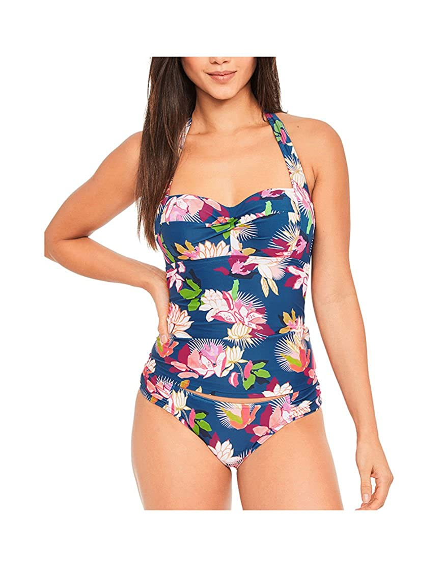 Figleaves Womens Luana Floral Halter Neck Underwired Padded Tummy Control Tankini Top