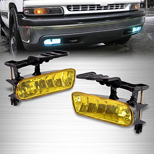 Driver Passenger Side Fog Light Lamp With Bulbs Left Right For 99-02 Chevy SILVERADO 1500 2500/01-02 SILVERADO 3500/00-06 Chevy SUBURBAN Tahoe Color Yellow ()