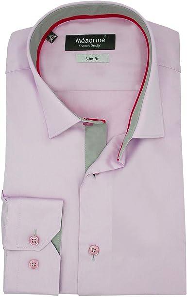 Meadrine Hombre de cupo la Camisa Lila pálido Poco Cuello 1 botón con Contraste Gris Cinta y Cinta Fucsia: Amazon.es: Ropa y accesorios