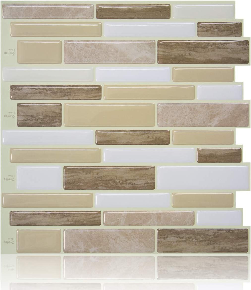 - Wooden Beige Peel And Stick Tile Backsplash For Kitchen, Stick On