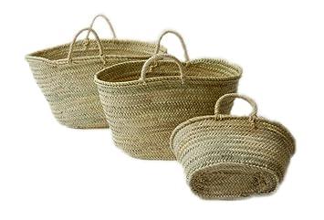 Capazo de Palma Reforzado, Cesto o Bolso de Mimbre para la Playa, Fibras Naturales. (8V, Aprox. 46x28 cm): Amazon.es: Hogar
