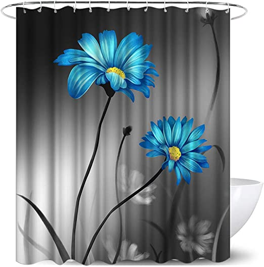 Amazon Com Teal Gray Flower Shower Curtain Sets Blue Balck And White Floral Polyester Fabric Bath Curtain With 12hooks Modern Bathroom Home Decor 72 X 72 Inches Kitchen Dining