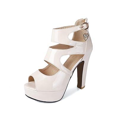 fc297f7e3e03 GATUXUS Peep Toe Platform High Heel Party Prom Pumps Shoes Strappy Sandals  for Women (5