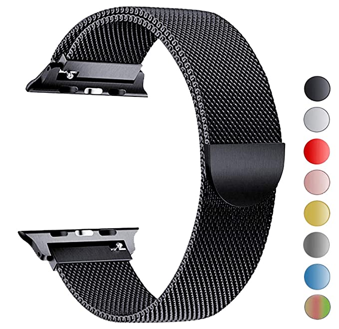Seoaura Compatible Watch Band 38mm 40mm, Stainless Steel Milanese Loop Replacement Strap With Magnetic Closure Series 4 3 2 1 Sports (Black, 38mm/40mm) by Seoaura