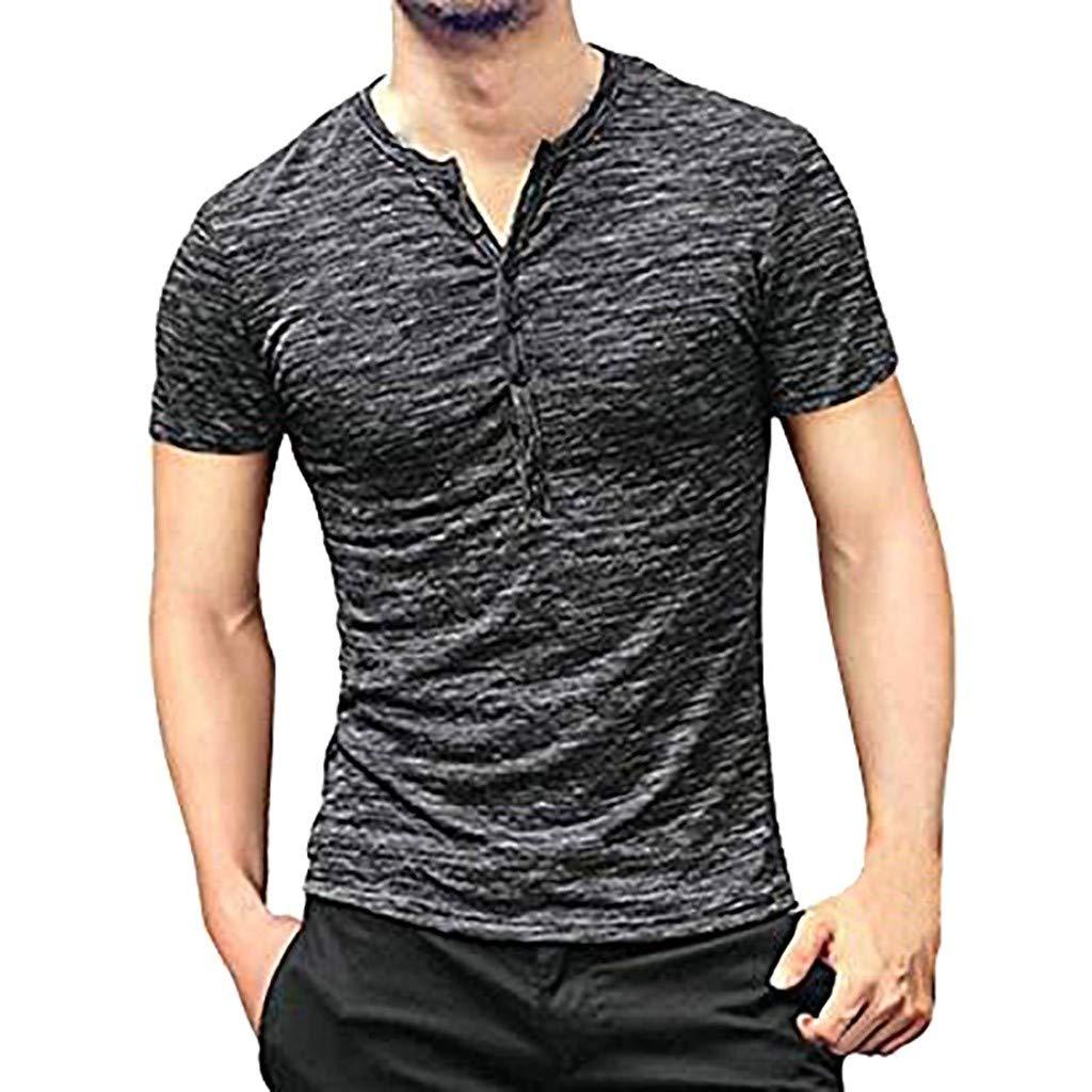 Winsummer Mens Casual Slim Fit Basic Henley Short Sleeve T-Shirt Lightweight V Neck Muscle Tops Black
