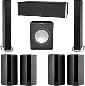 Definitive Technology 7.1 System with 2 BP9060 Tower Speakers, 1 CS9040 Center Channel Speaker, 4 SR9080 Surround Speaker, 1 Premier Acoustic PA-150 Subwoofer