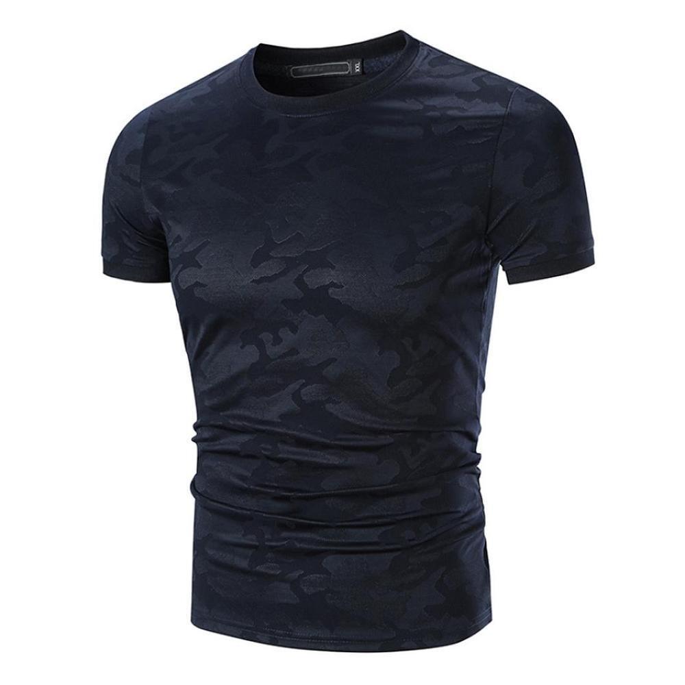 VENMO Camisetas Hombre Camisas Hombre,Tops Hombre,Blusa Hombre,Hombres Casual Slim fit Camiseta de Manga Corta de O Cuello,Camisetas de Camuflaje Hombre,Camisetas Deportivas Hombre