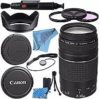 Canon EF 75-300mm f/4-5.6 III Lens 6473A003 + 58mm 3pc Filter Kit + Lens Cleaning Kit + Lens Pen Cleaner + 58mm Tulip Lens Hood + Fibercloth Bundle