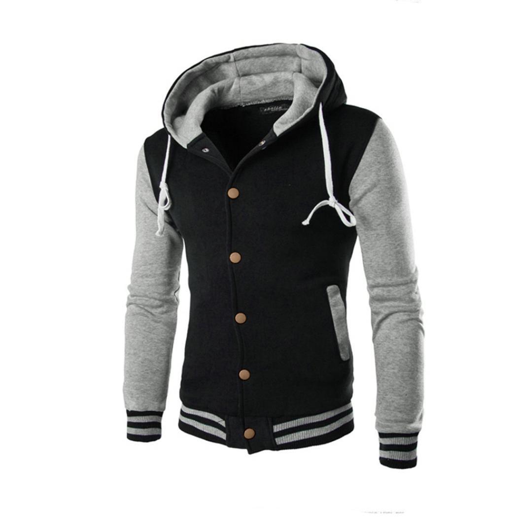 Hot Sales FimKaul Men Coat Jacket Outwear Sweater Winter Slim Hooded Sweatshirt (XL, Gray)