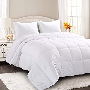 COOSLEEP HOME Down Alternative King Comforter with Corner Tabs-All Season Lightweight Duvet Insert-Soft Cooling Stand Alone Comforter-Hypoallergenic-Machine Washable(White)90x102 Inch