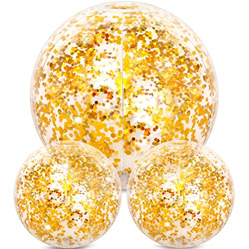 - Hsei 3 Pieces Inflatable Beach Ball Glitter Beach Ball Floatable Confetti Ball for Summer Beach, Pool and Party Favor (Golden, 16 and 24 Inch)