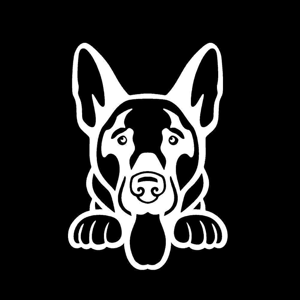 German Shepherd Peeking v1ビニールデカールby stickerdad – サイズ: 5インチ、色:ホワイト – Windows、壁、バンパー、ノートパソコン、ロッカー、など。 B079R5PM9V