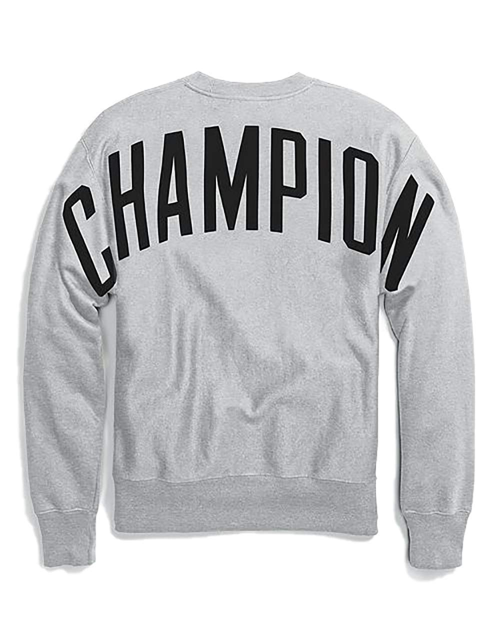 Champion LIFE Men's Reverse Weave Oversized Champion Script Crew Neck Fleece (X-Small, Oxford Gray/Champion Block Logo)