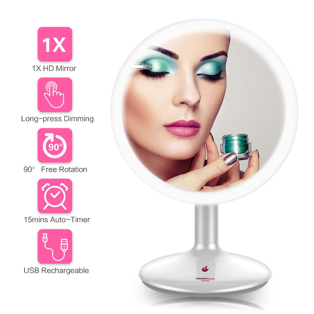 TOUCHBeauty Lighted Makeup Mirror with LED Ring,1X Magnification HD Premium Vanity Mirror, Touch Sensor Dimmable Brightness, 6 Inch Tabletop Round Cosmetic Mirror USB Rechargeable